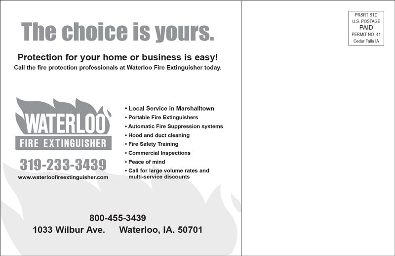 Waterloo Fire Extinguisher Direct Mail Design